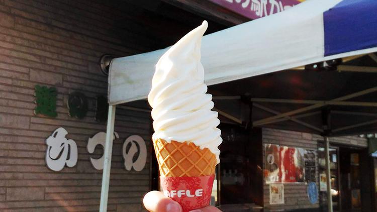 ご当地ソフトクリーム 北限の桃ソフト