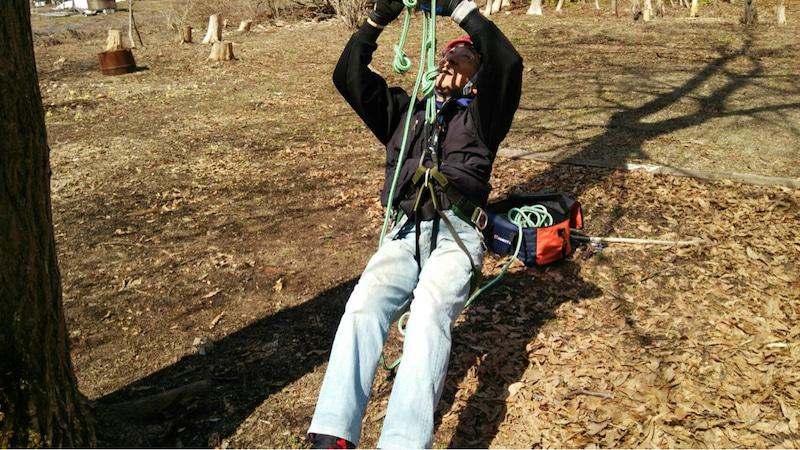 ロープを結んでいるところ